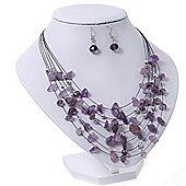 Amethyst Stone & Silver Metal Bead Multistrand Necklace & Drop Earrings Set