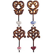 Set of 4 'Linden' Rusty Cast Iron & Ceramic Wall Coat Hooks