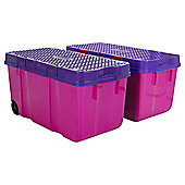 Wham Tough Cart Plastic Storage Boxes - 2 Pack - Pink
