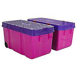 Wham Tough Cart Plastic Storage Boxes - 2 Pack - Pink