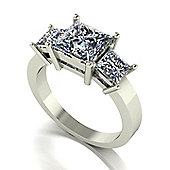 18ct White Gold 3 Stone Square Brilliant Moissanite Trilogy Ring