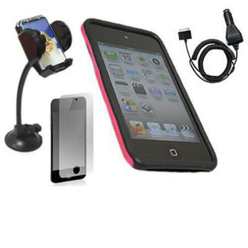 FuZion Pink Black 2 Part Case, LCD Guard, Holder & Car Charger - Apple Touch 4G