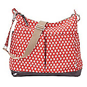 OiOi Mini Geo 2-Pocket Hobo Changing Bag Poppy Red