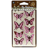 Polka Butterfly Stickers - Pink/Brown
