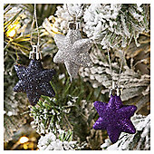 Glitter Stars Christmas Tree Decorations, 9 pack