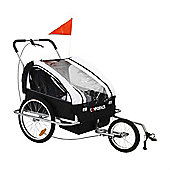 Confidence Folding Baby Stroller/Buggy W/ Suspension For Jogging/Attach To Bike White