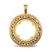 Jewelco London 9ct Solid Gold casted half-size rope & Ribbon design Sovereign coin pendant mount