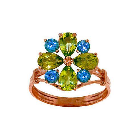 QP Jewellers Blue Topaz & Peridot Rafflesia Ring in 14K Rose Gold - Size T
