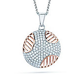 The REAL Effect Rhodium & Rose Sterling Silver Cubic Zirconia Art Deco Striped Circle Pendant