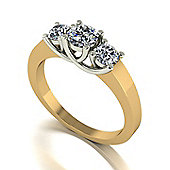 18ct Gold Lucern Setting Moissanite 3 Stone Ring