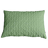 Homescapes Ultrasonic Green Quilted Embossed Filled Cushion, 50 x 75 cm