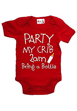Dirty Fingers PARTY my crib 2am Baby Bodysuit - Red