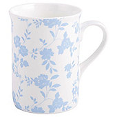 Tesco Fine Bone China Traditional Mug, Floral Light Blue