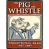 Traditional Ales The Pig and Whistle Tin Sign
