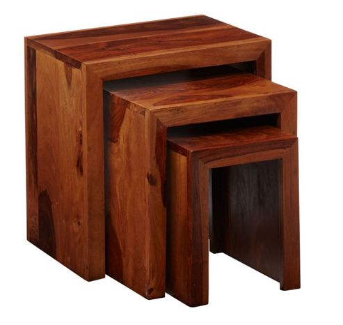 Indian Hub Cube Sheesham Nest of Three Tables