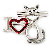 'I Love Cat' Crystal Brooch (Silver Tone)