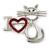 'I Love Cat' Crystal Brooch (Silver Tone)