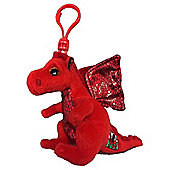 "Ty Beanie Babie 3"" Key Clip - Y Ddraig Goch Red Welsh Dragon"
