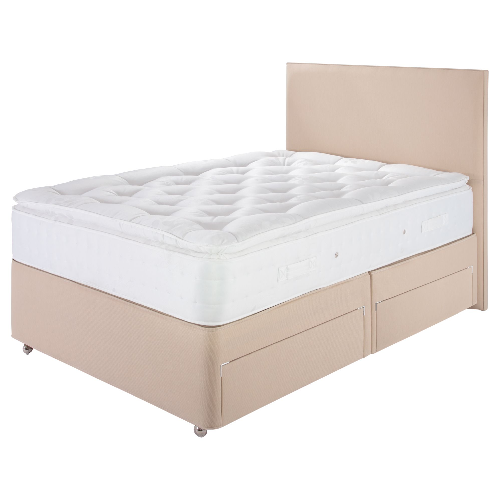 Home And Garden Furniture Airsprung Double Fabric Non Storage Divan Bed Plus Headboard