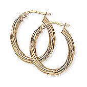 Jewelco London 9ct Yellow Gold - Twisted Hoop Earrings -