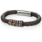 Mens Fred Bennett Brown Leather Steel Barrel Magnetic Bracelet