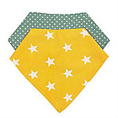 Baroo Fashion Bibs Pack of 2 (Yellow stars and Green Spots)