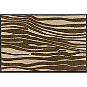 Wash & Dry by Kleen-Tex Zebra Beige Flat Bordered Rug - 50cmx75cm