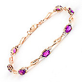 QP Jewellers 8.5in Diamond & Pink Topaz Classic Tennis Bracelet in 14K Rose Gold