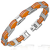 Urban Male Stainless Steel & Orange Rubber Link Bracelet For Men