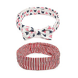 Mothercare Young Girls Cat and Striped Bandeau Headband - 2 Pack