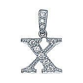 Rhodium-Coated Sterling Silver Initial Identity Pendant Letter X