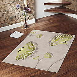 Ultimate Rug Co Floral Art Ixia Green Rug - 120 cm x 170 cm (3 ft 11 in x 5 ft 7 in)