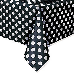 Black Polka Dot Plastic Tablecover - 1.4m x 2.8m