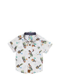 F&F Pineapple Print Short Sleeve Shirt - White