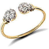 Jewelco London 9ct Solid Gold torque Ring with collared beads hand set with CZ stones