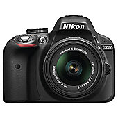 "Nikon D3300 Digital SLR, Black, 24.2MP, 3"" LCD Screen, 18-55 VR II Lens"