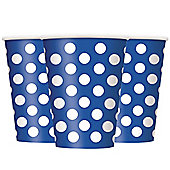 Blue Polka Dot Cups - 340ml Paper Party Cups