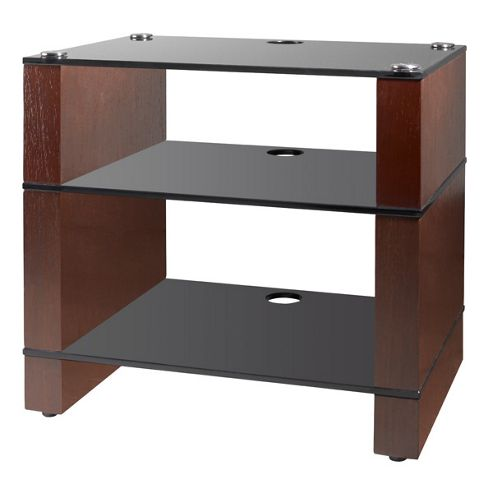 Blok BKW-352 Walnut 3 shelf rack with Black Glass