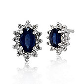 Gemondo 9ct White Gold 0.60ct Blue Sapphire & Diamond Cluster Stud Earrings