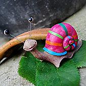 Bright Pink Stripes Coloured Resin Snail Garden Ornament