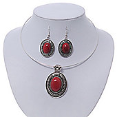 Coral Red Oval Medallion Flex Wire Necklace & Earrings Set In Silver Plating - Adjustable