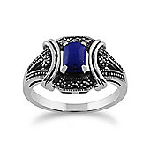 Gemondo 925 Sterling Silver 0.52ct Lapis Lazuli & Marcasite Art Deco Ring
