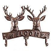 'Baxter' Cast Iron Double Stag's Head Coat Hook Rack with Welcome Sign