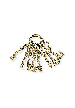 Jewelco London 9ct Light Yellow Gold - I Love You' Keys Charm Pendant -