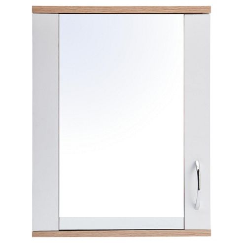Two Tone Wood Wall Cabinet With Mirrored Single Door