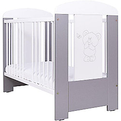Drewex Bear & Butterfly Cot with Drawer (Silver/White)