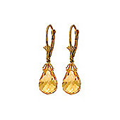 QP Jewellers 14.0ct Citrine Briolette Crown Earrings in 14K Gold