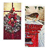 Tesco Robin In Snow Slims Christmas Cards, 10 Pack