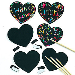 Scratch Art Heart Craft Magnets (Pack of 10)