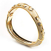 Light Cream Enamel Curvy Crystal Hinged Bangle (Gold Tone Finish)